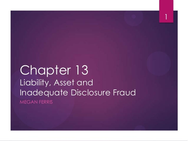 Chapter 13 Liability, Asset and Inadequate Disclosure Fraud MEGAN FERRIS 1