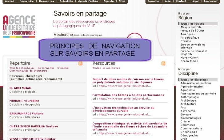 """Principes de navigation sur """"Savoirs en partage"""""""