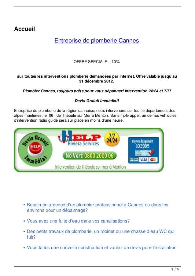 Accueil                      Entreprise de plomberie Cannes                                 OFFRE SPECIALE – 10% sur toute...