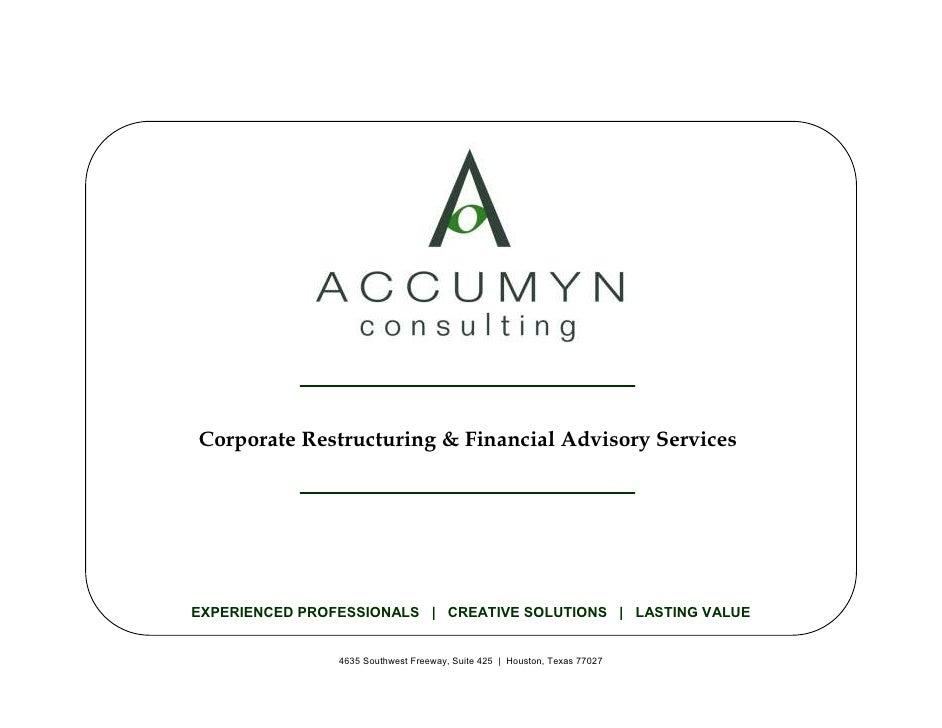 Accumyn Turnaround Restructuring