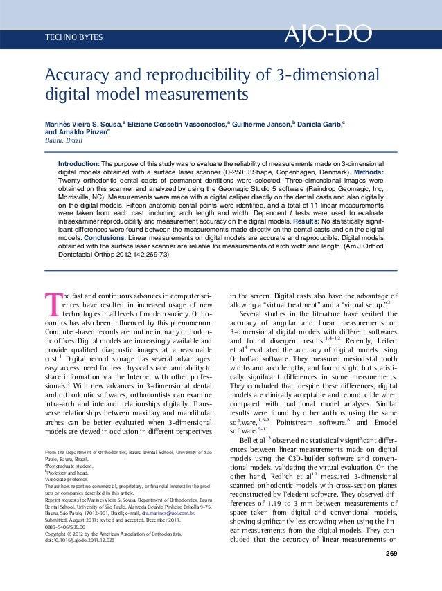 TECHNO BYTESAccuracy and reproducibility of 3-dimensionaldigital model measurements     ^Marines Vieira S. Sousa,a Elizian...