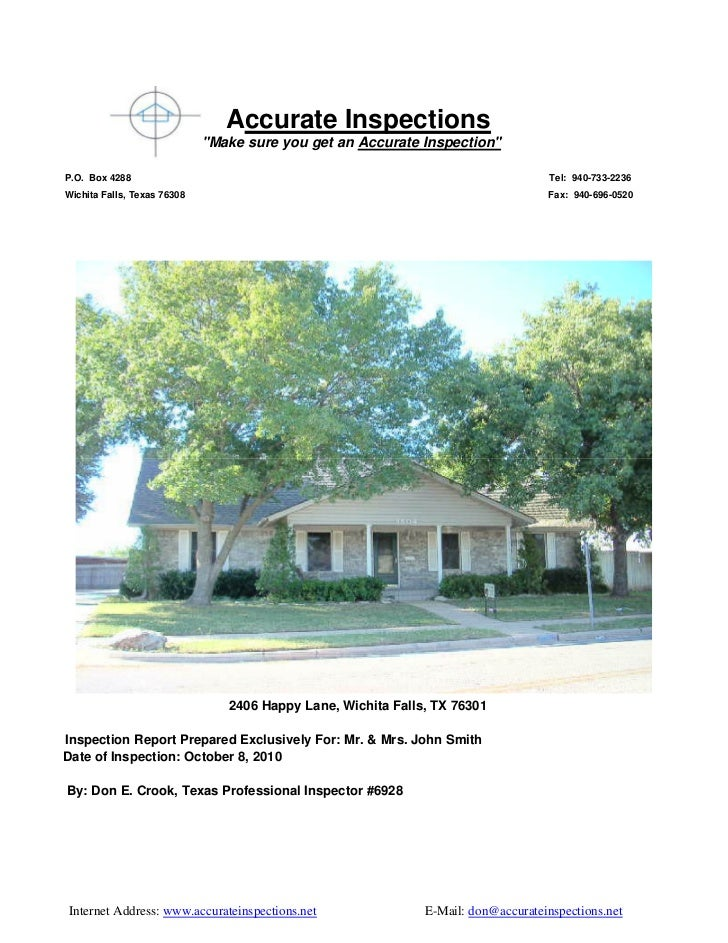 """Accurate Inspections                             """"Make sure you get an Accurate Inspection""""P.O. Box 4288                  ..."""
