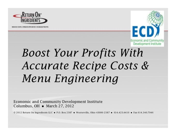 Boost Your Profits With      Accurate Recipe Costs &      Menu      Men EngineeringEconomic and Community Development Inst...