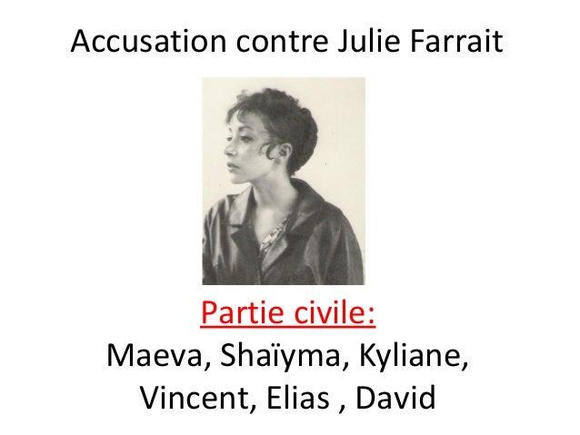 Accusation contre Julie Farrait  Partie civile: Maeva, Shaïyma, Kyliane, Vincent, Elias , David