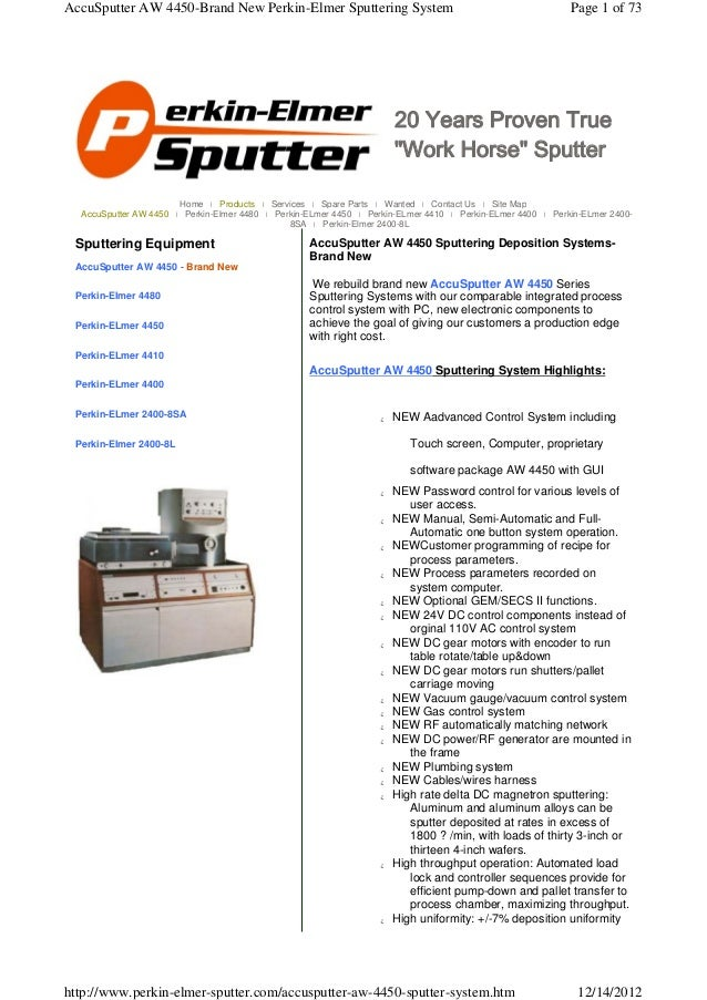 AccuSputter AW 4450-Brand New Perkin-Elmer Sputtering System                                                Page 1 of 73  ...