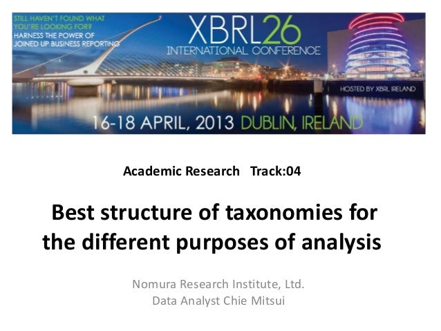 Academic Research Track:04Best structure of taxonomies forthe different purposes of analysisNomura Research Institute, Ltd...