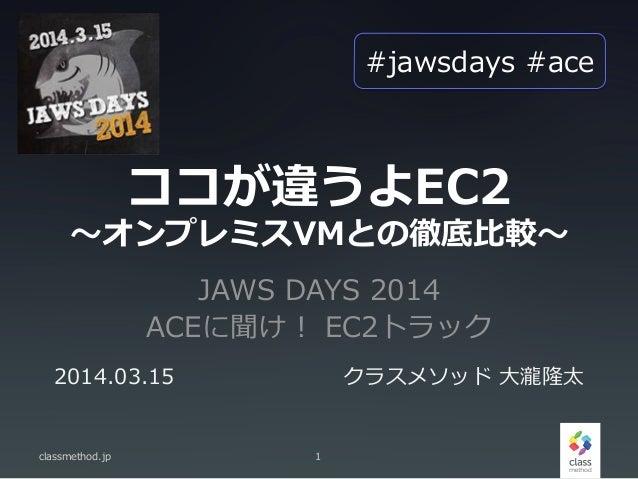 JAWS DAYS 2014 ACEに聞け! EC2トラック classmethod.jp 1 2014.03.15 クラスメソッド ⼤大瀧隆太 ココが違うよEC2 〜~オンプレミスVMとの徹底⽐比較〜~ #jawsdays #ace