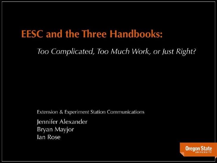 EESC and the Three Handbooks: Too Complicated, Too Much Work, or Just Right?