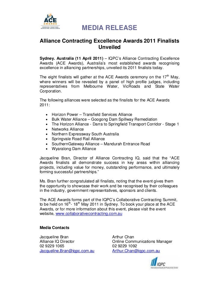 MEDIA RELEASEAlliance Contracting Excellence Awards 2011 Finalists                      UnveiledSydney. Australia (11 Apri...