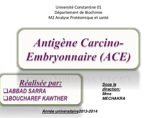 Université Constantine 01 Département de Biochimie M2 Analyse Protéomique et santé Sous la direction: Mme MECHAKRA Année u...