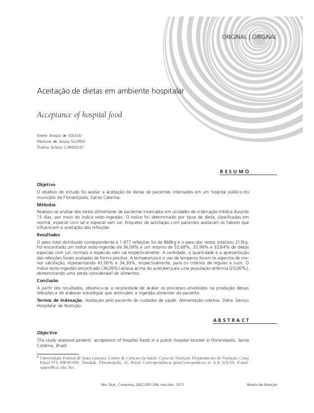 ORIGINAL | ORIGINAL  ACEITAÇÃO DE DIETAS | 287  Aceitação de dietas em ambiente hospitalar  Acceptance of hospital food  1...