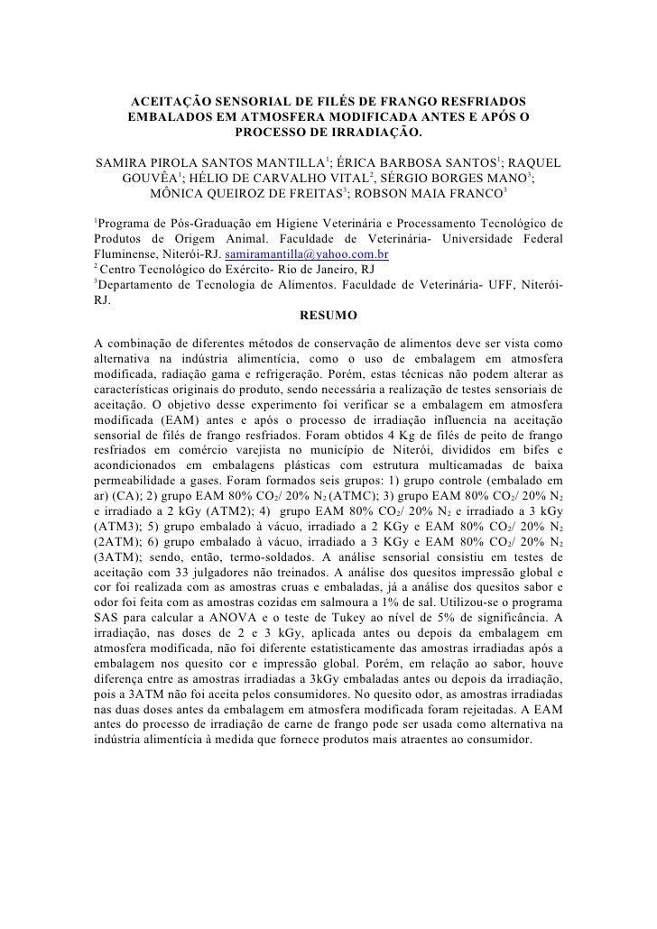 AceitaçãO Sensorial De FiléS De Frango Resfriados Embalados Em Atmosfera Modificada Antes E ApóS