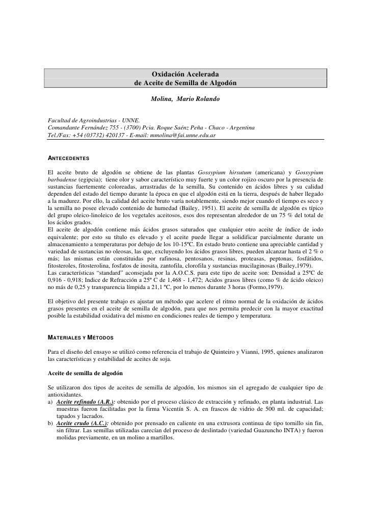 Oxidación Acelerada                                    de Aceite de Semilla de Algodón                                    ...