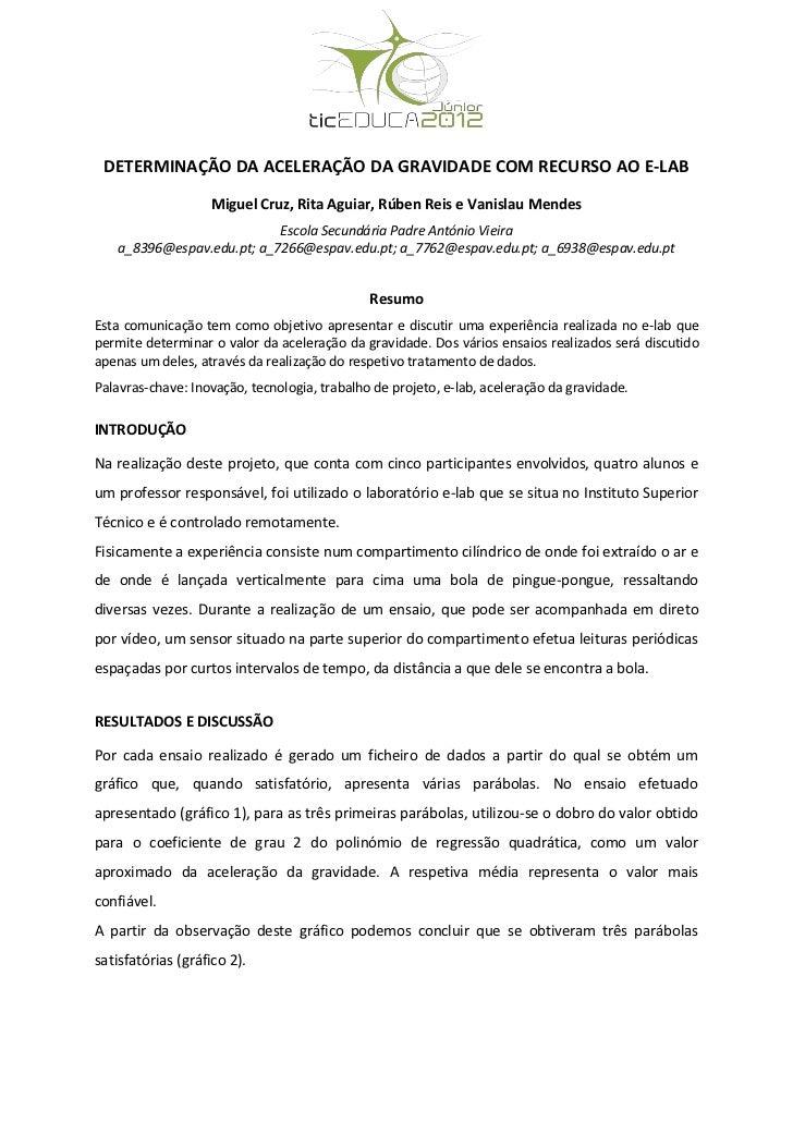 """Comunicação ticEDUCA júnior 2012 experiência e-lab """"Determinação da aceleração da gravidade na Terra"""""""