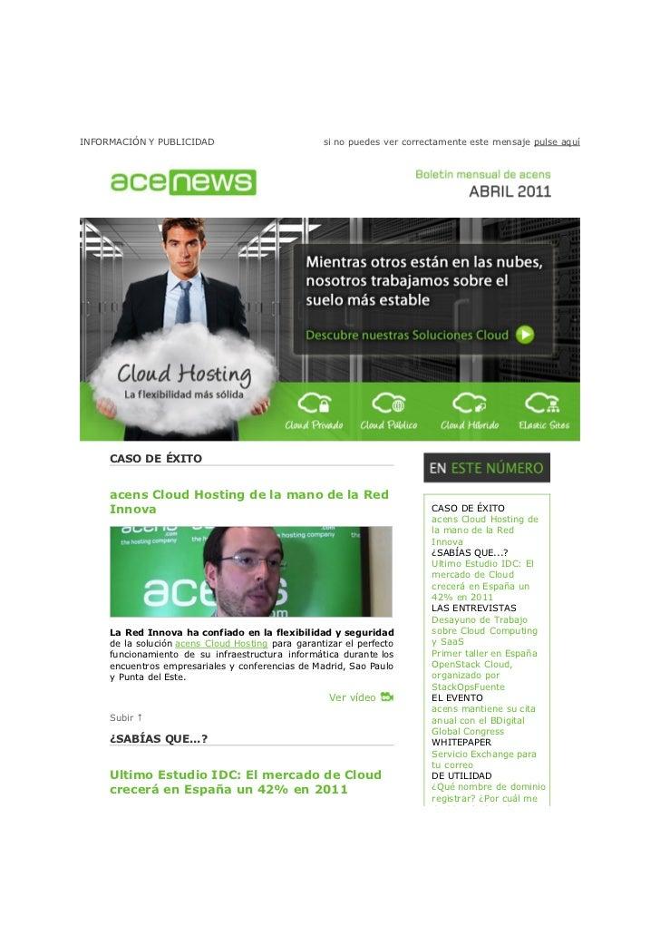 AcensNews Abril 2011. Housing, VPN, Servidores Dedicados y Cloud Hosting