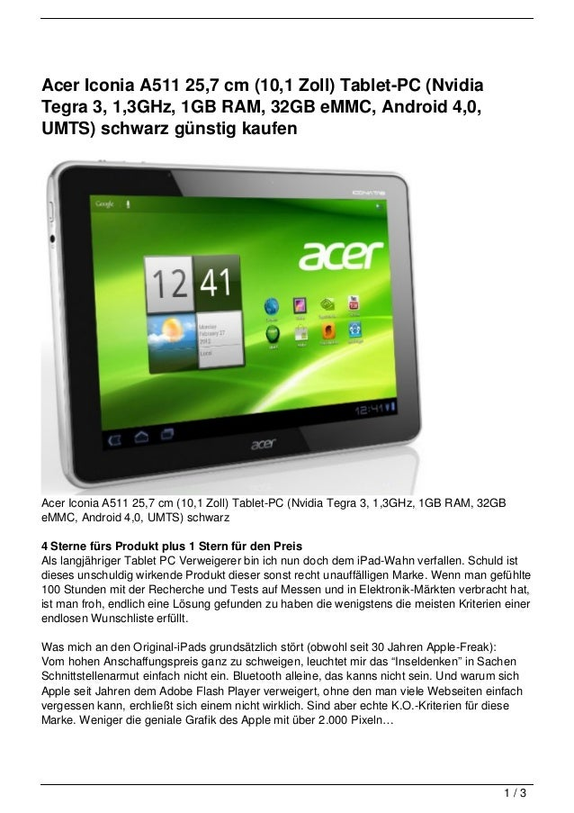 Acer Iconia A511 25,7 cm (10,1 Zoll) Tablet-PC (NvidiaTegra 3, 1,3GHz, 1GB RAM, 32GB eMMC, Android 4,0,UMTS) schwarz günst...