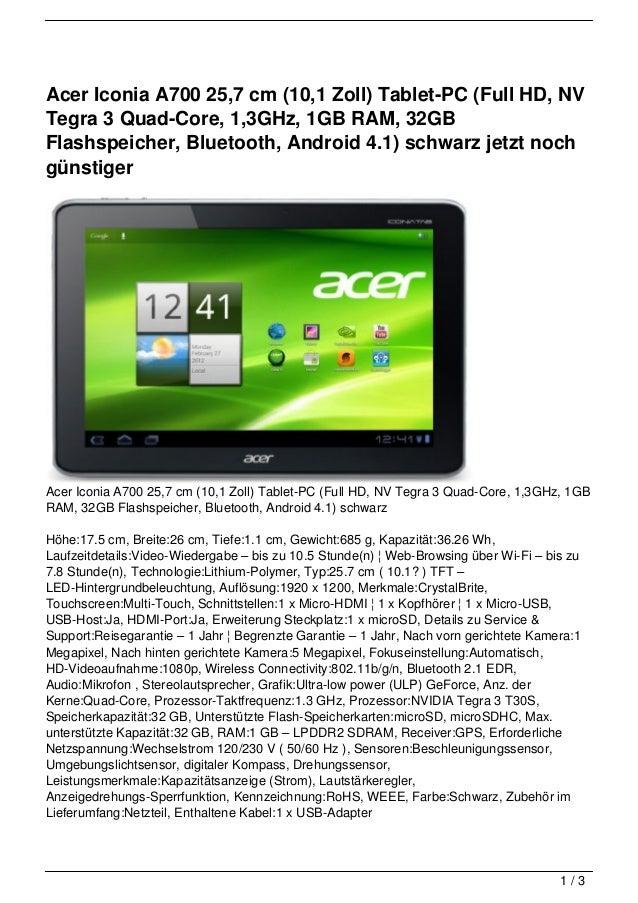 Acer Iconia A700 25,7 cm (10,1 Zoll) Tablet-PC (Full HD, NVTegra 3 Quad-Core, 1,3GHz, 1GB RAM, 32GBFlashspeicher, Bluetoot...