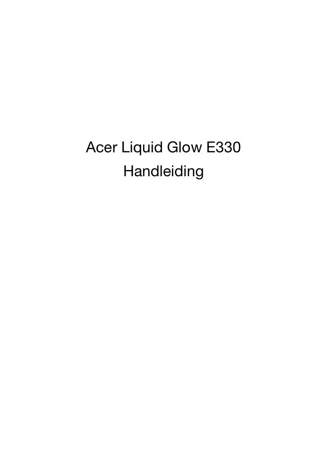 Gebruikershandleiding Acer Liquid Glow E330 Handleiding
