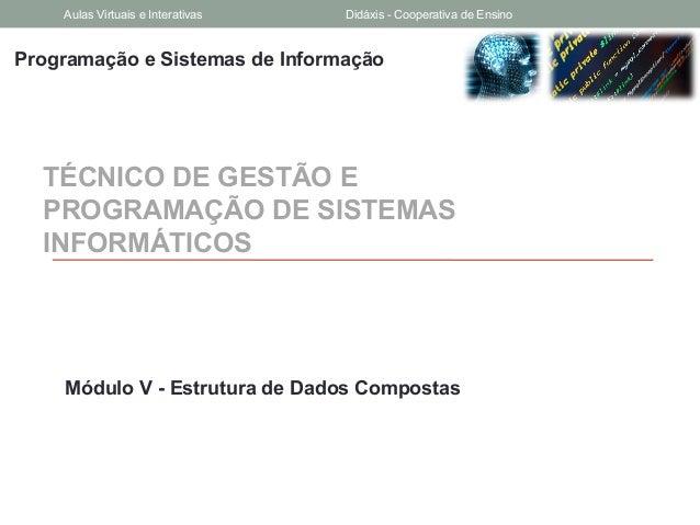 Programação e Sistemas de InformaçãoTÉCNICO DE GESTÃO EPROGRAMAÇÃO DE SISTEMASINFORMÁTICOSMódulo V - Estrutura de Dados Co...