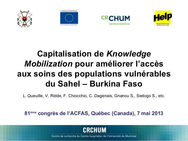 Capitalisation de Knowledge Mobilization pour améliorer l'accès aux soins des populations vulnérables du Sahel – Burkina F...