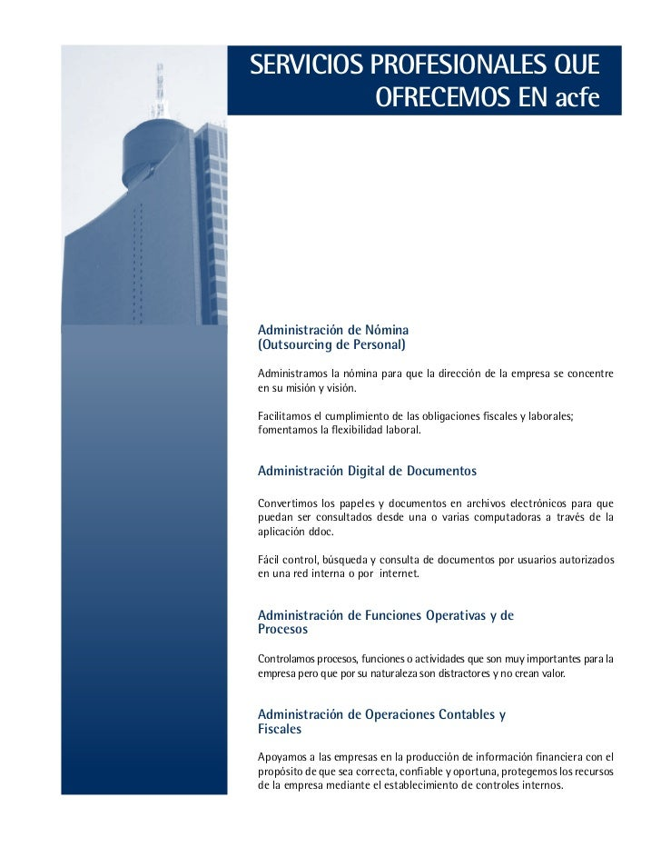 Presentación de Servicios que ofrece ACFE