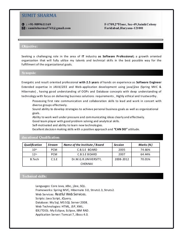 Resume Format For Java Developer With 1 Year Experience - Resume ...