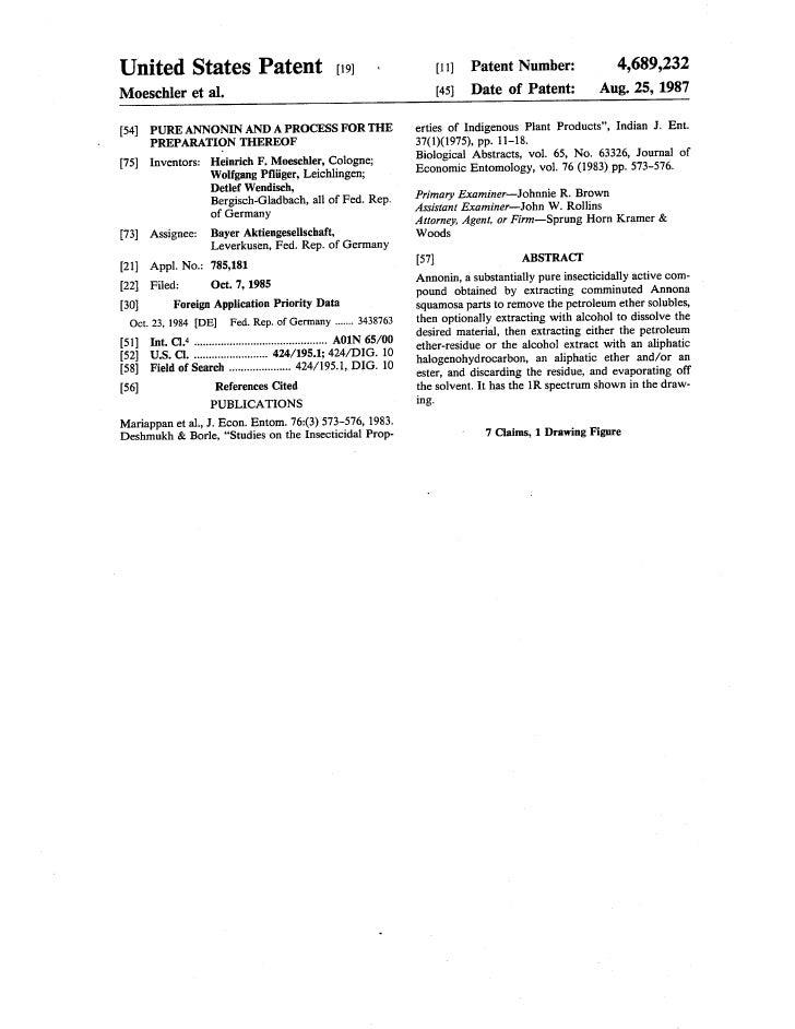 ACG-200-Bayer-US Patent-4689232-1987-Annonin-c37-h66o7