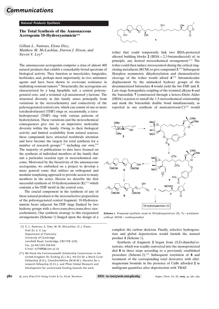 Communications       Natural Products Synthesis      The Total Synthesis of the Annonaceous      Acetogenin 10-Hydroxyasim...