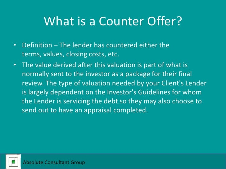 Acg counter offer what do i need to know for Couter definition