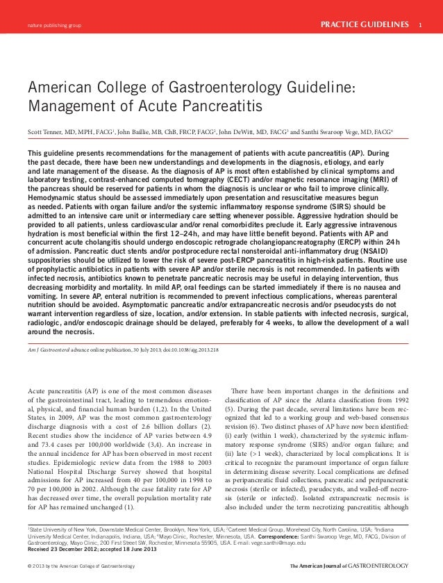 nature publishing group  PRACTICE GUIDELINES  American College of Gastroenterology Guideline: Management of Acute Pancreat...
