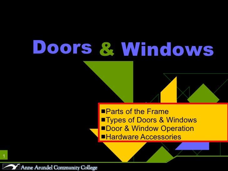 Doors <ul><li>Parts of the Frame </li></ul><ul><li>Types of Doors & Windows </li></ul><ul><li>Door & Window Operation </li...