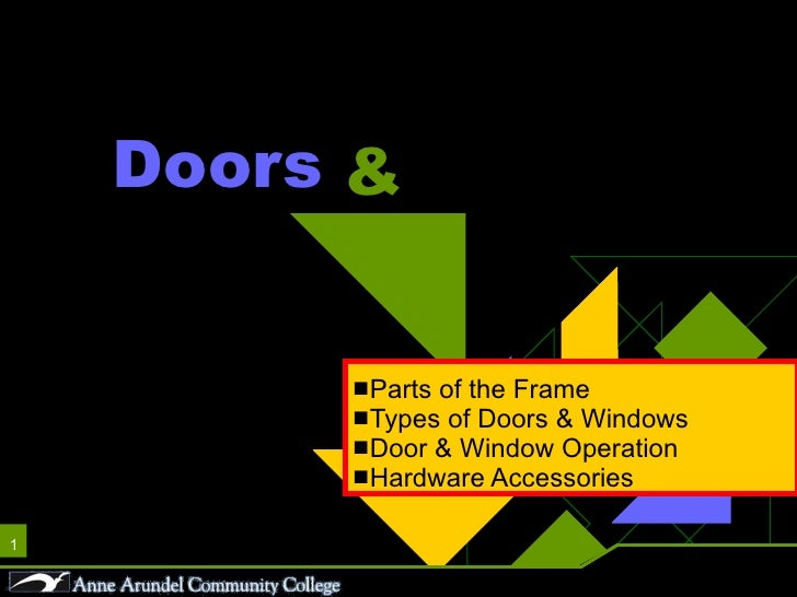 ACH 121 Lecture 12a Doors