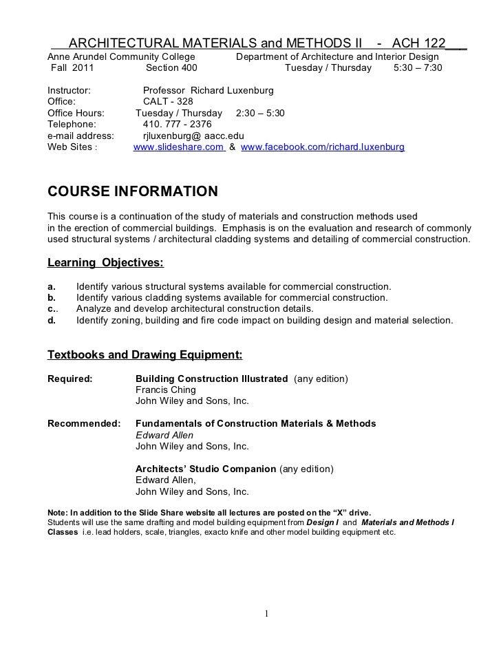 ACH 122  F2011 syllabus