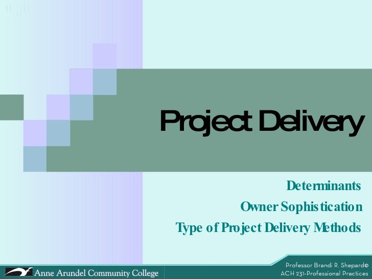 Project Delivery Determinants Owner Sophistication Type of Project Delivery Methods