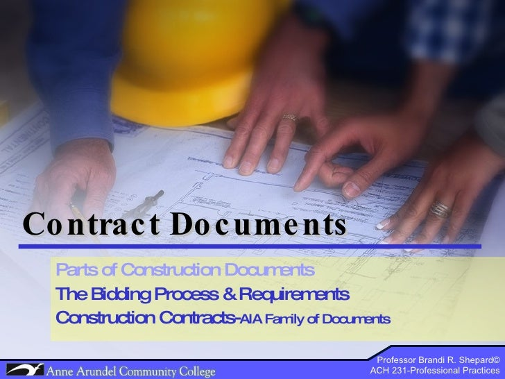 ACH 231 Lecture 07 (Contract Documents) Part 2