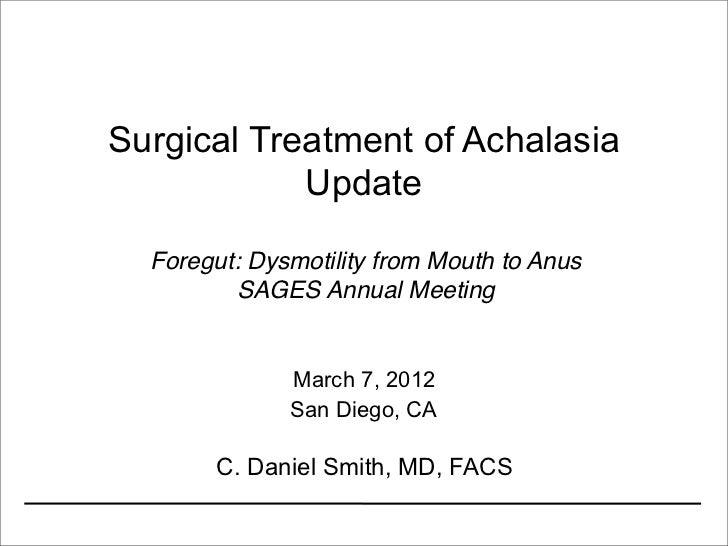 Achalasia Surgery Update 2012