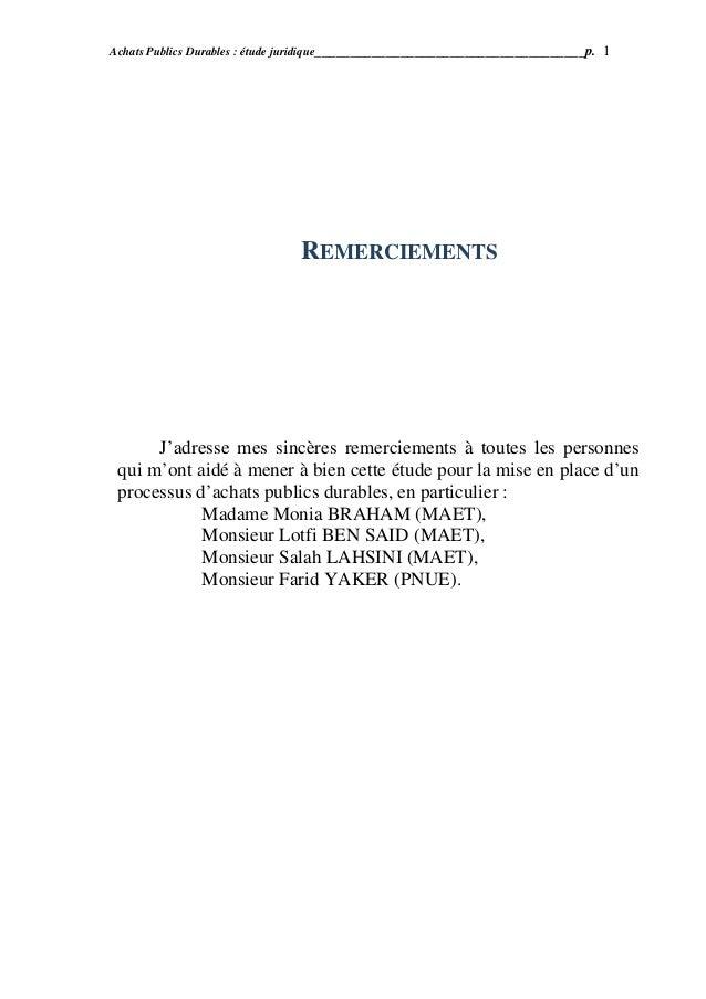Achats publics durables  étude juridique tunisi