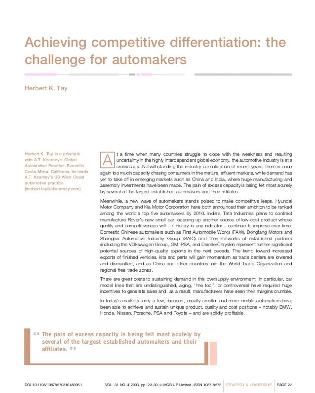 Achieving competitive differentiation: thechallenge for automakersHerbert K. Tay                                    AHerbe...