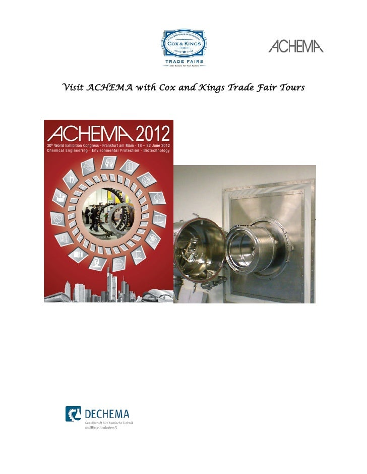 Visit ACHEMA with Cox and Kings Trade Fair Tours