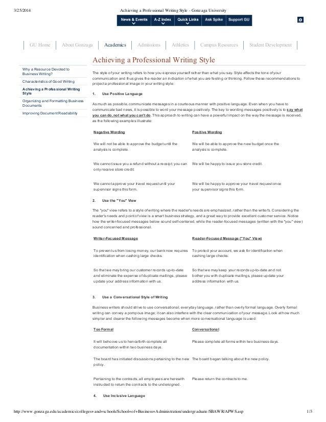 Achieving a Professional Writing Style - Gonzaga University