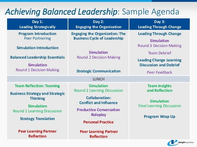 achieving balanced leadership program sample agenda. Black Bedroom Furniture Sets. Home Design Ideas