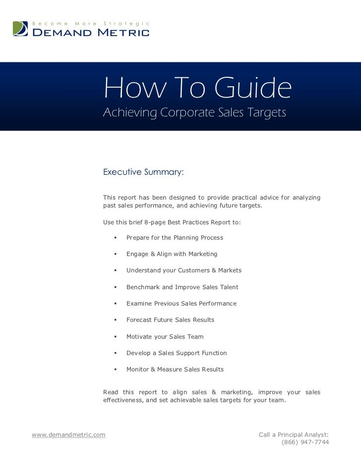 How To Guide                   Achieving Corporate Sales Targets                   Executive Summary:                   Th...