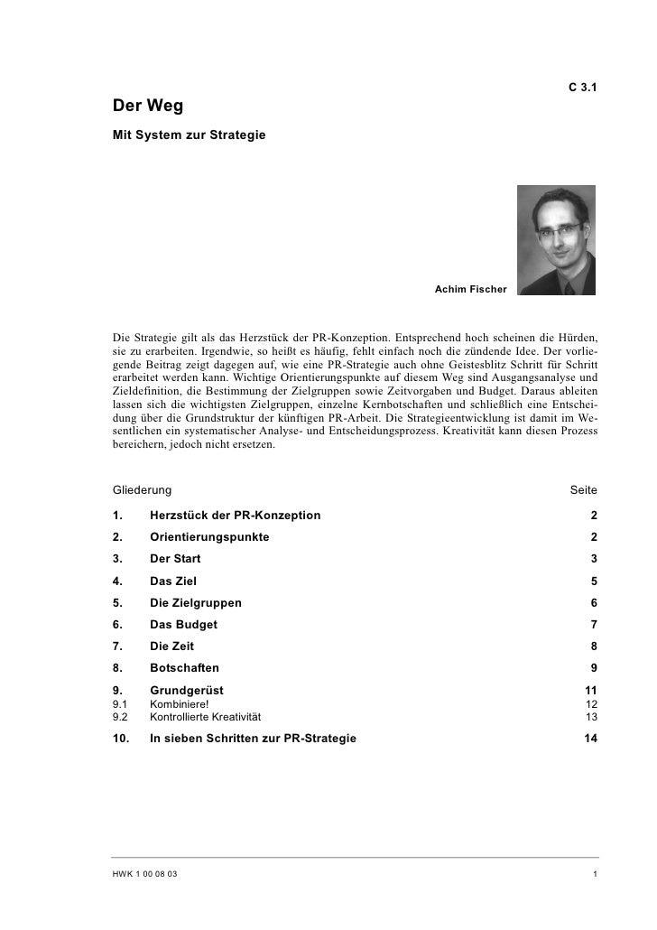 C 3.1 Der Weg Mit System zur Strategie                                                                      Achim Fischer ...