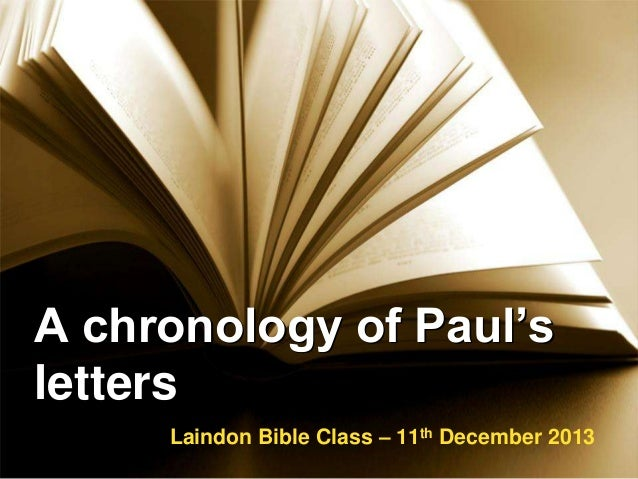 A chronology of paul's letters