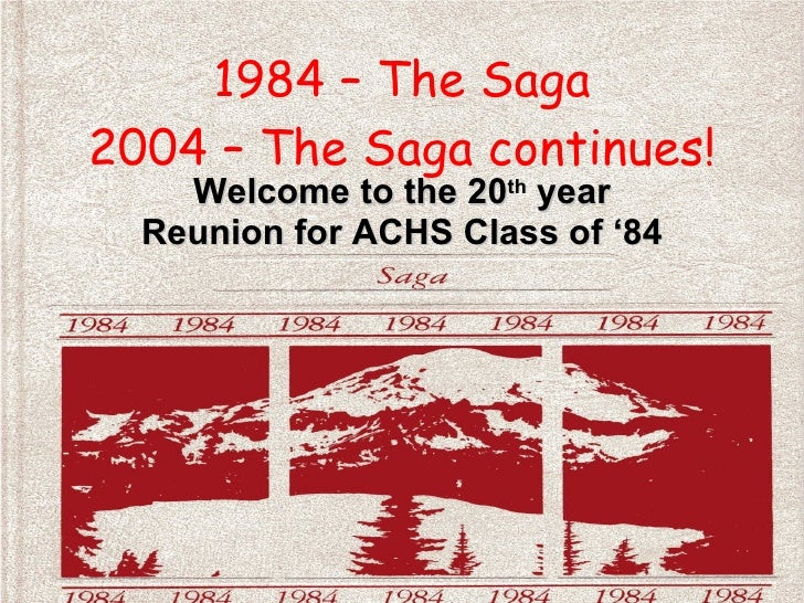 1984 – The Saga 2004 – The Saga continues! Welcome to the 20 th  year Reunion for ACHS Class of '84