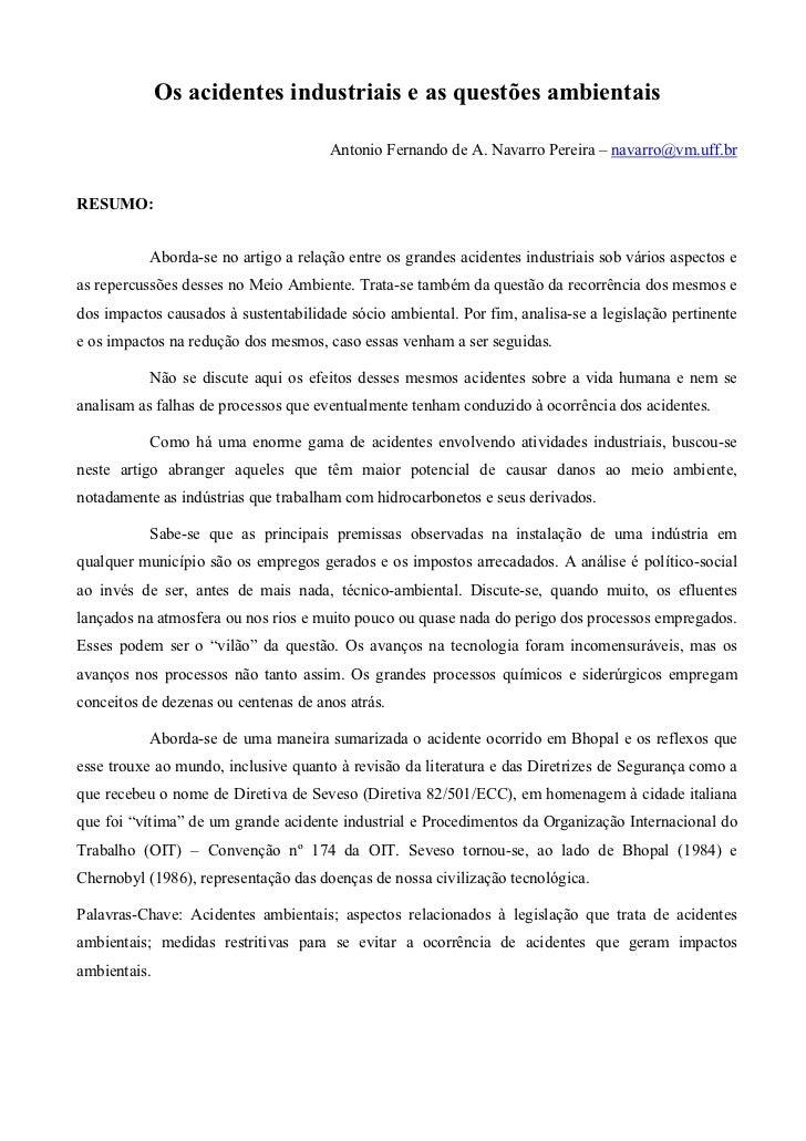 Os acidentes industriais e as questões ambientais                                      Antonio Fernando de A. Navarro Pere...
