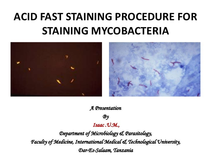ACID FAST STAINING PROCEDURE FOR STAINING MYCOBACTERIA<br />A Presentation <br />By<br />Isaac .U.M., <br />Department of ...