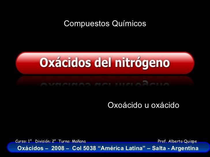 Compuestos Químicos Oxoácido u oxácido