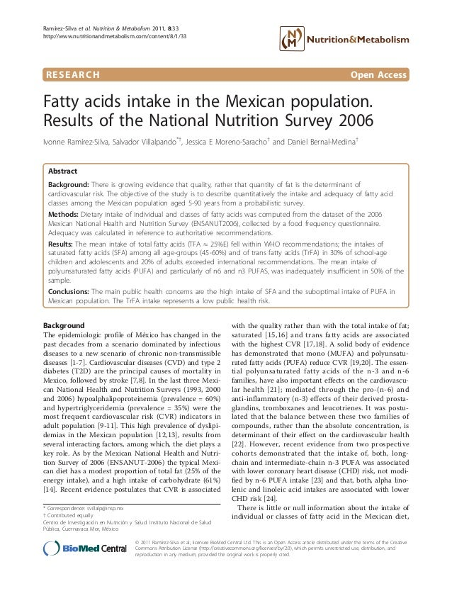 RESEARCH Open AccessFatty acids intake in the Mexican population.Results of the National Nutrition Survey 2006Ivonne Ramír...