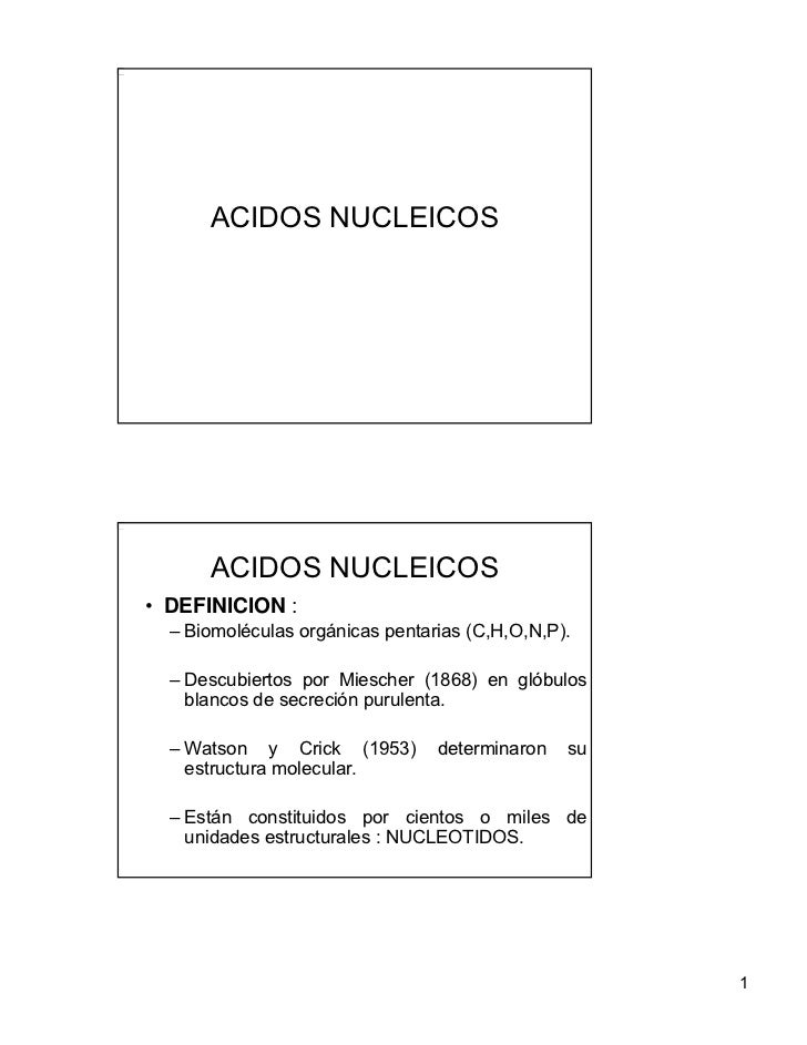 ACIDOS NUCLEICOS      ACIDOS NUCLEICOS• DEFINICION :  – Biomoléculas orgánicas pentarias (C,H,O,N,P).  – Descubiertos por ...